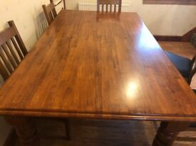 Red wood dining table
