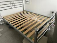 Metal silver bed frame - double