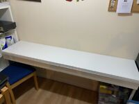 IKEA glossy white working desk / study table with two large drawers, excellent condition