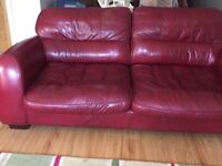 4 seater & 3 seater leather sofa