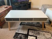Orla Blush Coffee Table NEW RRP £199 Grey Coffee Table With Draws Double Sided Modern Retro Table