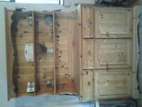 pine kitchen dresser, solid wood, 3 drawers.