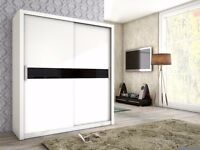 Brand New TOP QUALITY 2 Sliding Door Wardrobe Storage White Black Oak With Glass Strips