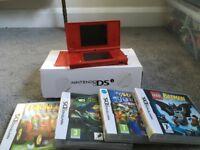 Nintendo DSi red & 4 games