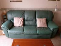 Green Leather Three Peice Suite