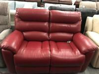 Real leather red 2 seater sofa