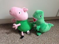 Peppa Pig Mr Dinosaur and Ty BEANIE GEORGE IN MR DINOSAUR COSTUME SOFT Toy