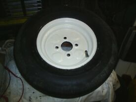 10 in wheel with good tyre from conway trailer tent 4in pdc may fit others