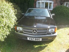 Mercedes 420SEC, 1990, MOT, classic pillarless coupe, black/cream leather, private plate