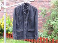 Ladies vintage denim jacket with sequins on cuffs and collar. Size 14