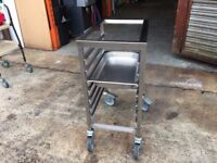 MOBILE STAINLESS STEEL GASTRO TIN TROLLEY