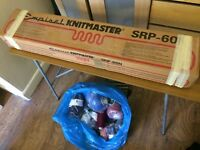 Knitting Machine, Empisal Knitmaster SRP-60N, with Ribber, accessories and a large bag of wool