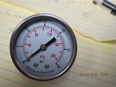 2 Dial 30 Psi Stainless Steel Dual-scale Pressure Gauge Npt Back Mount 4fmv7