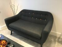 Ritchie 2 Seater Sofa in Anthracite Grey with Rainbow Buttons from Made