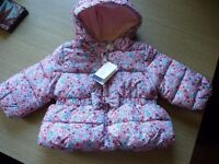 BABY GIRLS FLORAL PEPLUM PUFFER COAT FROM GAP - Brand New With Tags 6-12 mths
