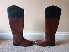 Zara Women's Brown and Black Knee High Boots