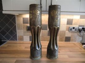 MATCHING PAIR OF LARGE WW1 GERMAN TRENCHART SHELL CASES