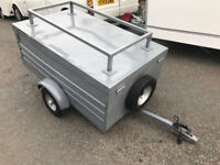 5 ft lightweight medium size metal box trailer with folding lid single wheel with lights and rack