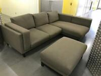 Grey L shape sofa with stool, Free delivery