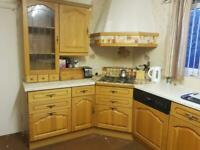 Solid oak kitchen with integrated appliances