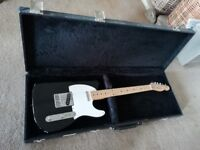 1980s Fender Telecaster Made in Japan (Black and White with Maple neck) - leather box case included
