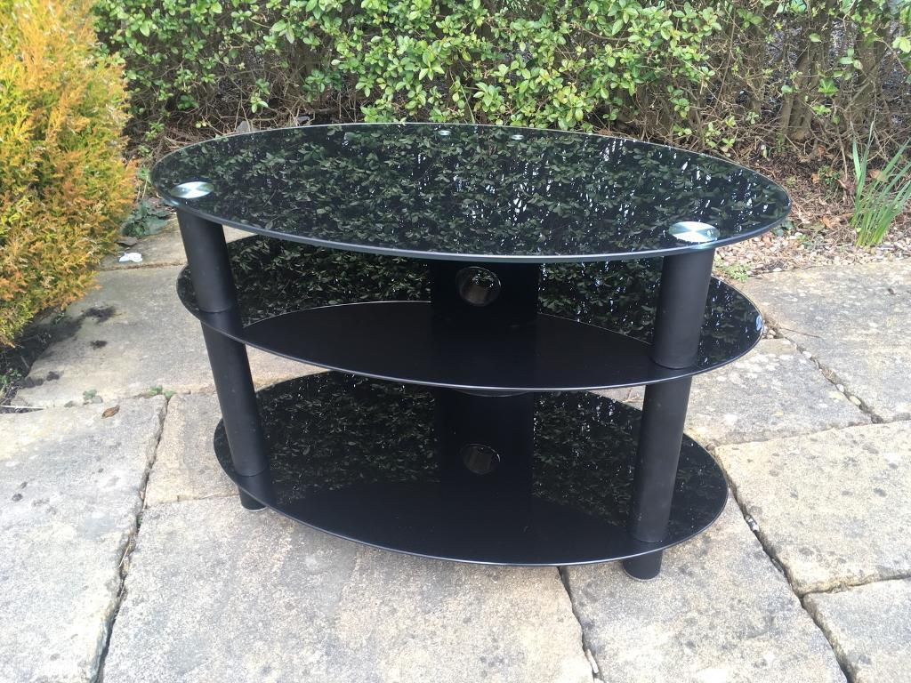 Black glass and chrome TV stand RRP £60