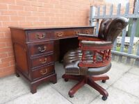 Mahogany Brown Leather inlay Twin Pedestal Desk and matching Captains Chair