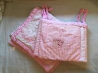 Pink Obaby cot bumper and duvet set
