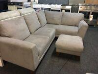 NEW / EX DISPLAY John Lewis Jasper Grey Corner Sofa + Footstool