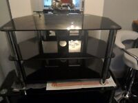 Black glass and chrome TV stand (used)