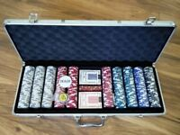 Poker Set 500 Piece Complete With Chips, Cards, Dice, And Aluminium Casino Style Case