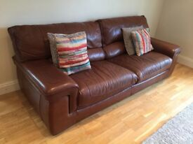 4 Seater Sofa Settee Couch & Single Arm Chair in tan brown chocolate leather - Very high quality