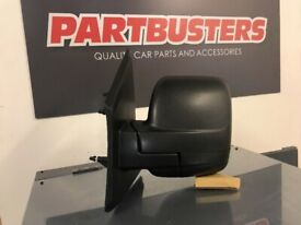 RENAULT TRAFIC 2014 ON DOOR WING MIRROR PASSENGER SIDE LH MANUAL BLACK COVER NEW