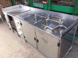 CATERING COMMERCIAL DOUBLE BOWL SINK UNIT CAFE SHOP TAKE AWAY FAST FOOD CANTEEN DINER SHIP CAFE PUB