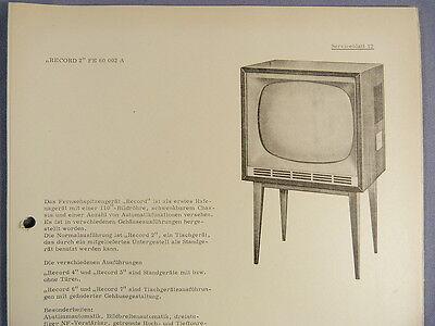 RECORD 2 FE 60 002 A - Fernseher Serviceblatt 12 mit Schaltplan Anleitung DDR
