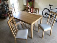 Ikea extendable dining table and six chairs