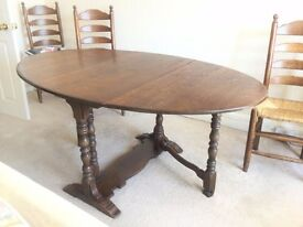 REDUCED IN PRICE - ANTIQUE VINTAGE SOLID OAK GATE LEG DINING TABLE & 4 MATCHING LADDER BACK CHAIRS