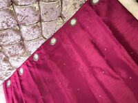 2sets-Cream Curtains with Diamonds & Cerise Curtains with Diamonds