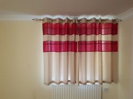 Cream and Red Tonal, Lined Curtains - 168cm x 137cm