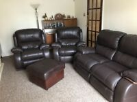Brown leather three piece suite for sale
