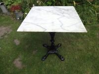 CAST IRON GARDEN TABLE WITH MARBLE TOP --