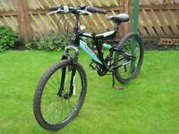 "MOUNTAIN BIKE, ""SILVER FOX"" 21 Gears, 17inch frame, 24 inch wheels, front and rear suspension"