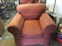 2 armchairs with fire labels. V comfy but a bit faded from the sun. Free to collector from Nailsea