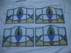 Four Vintage/Antique,Stained Glass Window Panels.