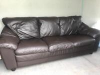 3 & 1 ~ Matching brown leather sofas suite
