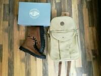 Palladium leather boots (UK 9) and khaki canvas backpack