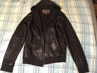Genuine Diesel leather hoodie jacket size L