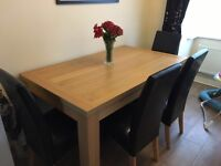 Dining table with six black chairs