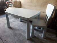 IKEA Mammut Table and Chair- used