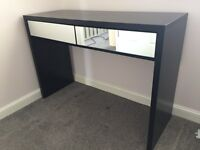 Mirror and Black Finish Wardrobe and Dressing Table